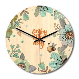 Wholesale arts wallpapers - 4 Design Cartoon Wooden Wall Clock Watch Stickers Home Decor Bedroom Decoration Wall Mirror wallpaper Household Art and Craft Suppiles
