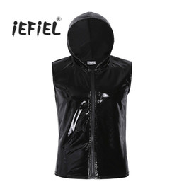 Wholesale leather shirts men zipper - Mens Black Fashion Wet Look Patent Leather Sleeveless Hoodie Clubwear Hip Hop T -Shirt Tank Top With Zipper Closure Man Clothing