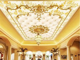 Wholesale Gold Wallpaper For Bedroom - Custom Photo Wall Paper European Style Gold Pattern Ceiling Murals Hotel Restaurant Living Room Luxury Wallpaper Papel De Parede