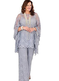Wholesale women plus size pants suits - Lace Mother of the Bride Pant Suits 2017 Long Sleeves Three Pieces Silver Gray Formal Women Plus Size Groom Mother Dresses for Wedding