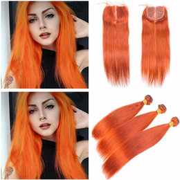 Wholesale Orange Hair Weave - Silky Straight Virgin Peruvian Orange Human Hair 3 Bundles Deals with Top Closure Pure Orange Color 4x4 Lace Closure with Human Hair Weaves