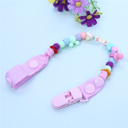 Wholesale Clips For Pacifiers - New Baby Pacifier Clip Pacifier Chain Hand Made Colourful Beads Dummy Clip Baby Soother Holder for Baby Kids