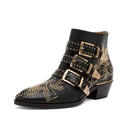 Wholesale Chunky Heel Buckle Boot - Susanna Studded Buckle Ankle Boots With Rivet Cool Motorcycle Boots Leather Rainboots For Women