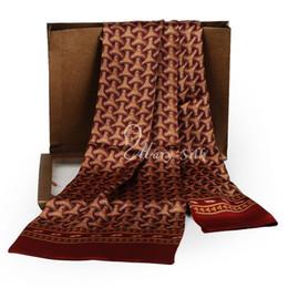 Wholesale Mens Silk Cravats - Fashion Brand Mens 100% Silk Long Scarf Cravat Scarives Brand Double Layer