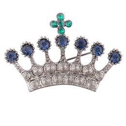 mexican crosses UK - New Fashion Vintage Crown Brooch Pin Set with Blue Rhinestone and Green Crystal Cross Women and Children Suits Collal Pin Badge Accessories