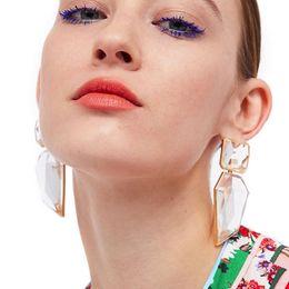 Orecchini in resina geometrica esagerata personalità vintage Lega rosa ciondolo gioielli ciondolo color caramella selvaggia da
