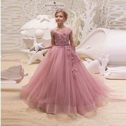acb0784f756 2019 Dusty Pink A-Line Applique Long Tulle Flower Girls Dresses V Back  Lace-up Ruffle Kids Formal Party Dress Birthday Christamas Dress discount  kids make ...