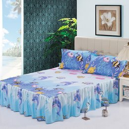 Wholesale Modern Pillow Shams - Wholesale-3pcs cartoon modern sheet set bed skirt pillow shams double full twin bedclothes,fade,wrinkle,stain resistant