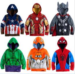 Sudaderas con capucha de maravilla online-Sudaderas para niños Avengers Marvel Superhero Iron Man Thor Hulk Capitán América Spiderman sudadera para niños Chaqueta de dibujos animados para niños 3-8T
