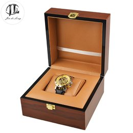 Wholesale Wood Show Case - Antique Oil Painting Wood Watch Gift Pack Box Case PU Leather Pillow Wristwatch Display Showing Boxes Durable Recollection