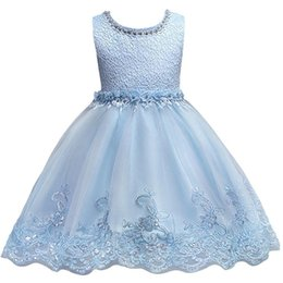 little girls wearing pink dress Promo Codes - Cute Sky Blue Little Kids Infants Flower Girl Dresses Princess Jewel Neck Short Formal Wears for Weddings First Communion Dress MC0817