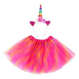 Лето оголовье для девочки онлайн-Девушки платье партии с Unicorn оголовье ребёнки летом платья бального платья Дня рождения принцесса костюм для малышей платья