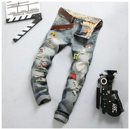 6754f733d76 Burst Section Badge Jeans Men Do Old Hole Ripped Jeans Straight Slim Fit  Cargo Trousers Fashion Biker Jeans Male