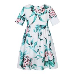 Wholesale Wholesale Designers Clothes - Kids Party Dress for Girls Birthday Summer Clothing 2018 Designer Short Sleeve Flowers Princess Dress for Kids Clothes 7pcs lot