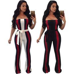 Wholesale Overalls Belt - Women Jumpsuits & Rompers Sexy fashion Slash Neck Off Shoulder Bodycon Long Bodysuit Overalls Club Playsuit With belt