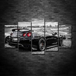 Wholesale Black Artwork Pictures - Modular Cheap Pictures 5 Panel Black Car Modern Frames For Painting Wall Art For Living Room Home Decor Artwork Canvas Prints