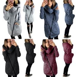 Wholesale Wholesale Solid Color Sweaters - Women Side Zipper Coats Long Sleeve Hoodie Sweater Autumn Winter Casual Outwear High Collar Pullover Blouse OOA3931