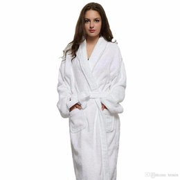 81bbb58959 Wholesale- Casual Women And Men White Long Robes White Cotton Twist Towel  Bathrobe Dressing Gown Bath Robe Unisex Winter Warm Dressing Gown  inexpensive men ...