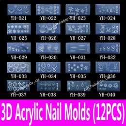 3d pre designed nails NZ - 12pcs 3d Acrylic Mold Nail Art Tools Carving Template in 139 pre-cut Designs for Filling in with Acrylic Powder & Liquid