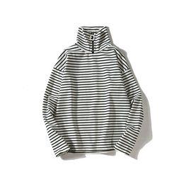 Wholesale Turtleneck Tee Shirts - Long sleeved mens stripe t shirt hip hop swag High street Loose cotton Retro Casual Mens autumn Turtleneck tee shirt 2018