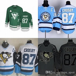 Wholesale Cheap Penguin Jerseys - Hot Sale Mens Pittsburgh Penguins 87 Sidney Crosby Black Green Blue White Gray Best Quality Full Embroidery Logos Cheap Ice Hockey Jerseys