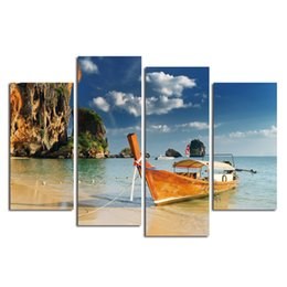 Wholesale abstract oil painting beach - Print Painting Modular Vintage Art 4 Piece Boat Beach Landscape Home Decor HD Canvas Wall Tableau Picture For Living Room Poster