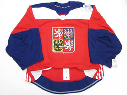 Wholesale Ice Hockey Goalie Jersey - Cheap Custom CZECH REPUBLIC RED WORLD CUP OF HOCKEY TEAM ISSUED JERSEY GOALIE CUT 60 Mens Stitched Personalized hockey Jerseys