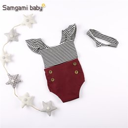Wholesale Striped Band - Baby Cross Belt Rompers Flying Sleeve Striped Button Crimson Elastic Flod Hair Banding Newborn Infant Jumpsuits Summer Girls Clothing 3-24M