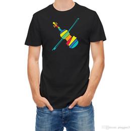 Instruments de musique de violon en Ligne-T-shirt Acoustique Rétro Instrument de Musique Violon Manches Courtes Coton T Shirt Livraison Gratuite TOP TEE T Shirt O-Cou Hommes