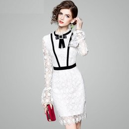 Wholesale Designer Lady S Dresses - Luxury Office Ladies White Dresses 2018 Summer Designer Fashion Flare Long Sleeve Bow Contrast Color Diamonds Lace Dress Women
