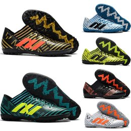 Wholesale Messi Shoes Red - Turf cleats soccer men 2018 Nemeziz 17.1 messi soccer shoes indoor football boots free shipping Cheap New Tango 17.3 TF soccer cleats sales