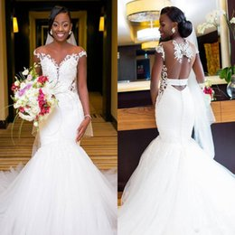 Wholesale long white dress scalloped neck - African Mermaid Wedding Dresses With Sheer Neck Cap Sleeves Open Back beach wedding dresses Appliques Long Sexy Bridal Gowns Boho