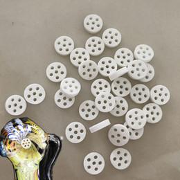 Schermo ceramico Filtro anti-fumo Ciotola di vetro Fumo a nido d'ape Disco Filtro per tubi a mano 6 fori Dia 8 mm * Spessore 2 mm da