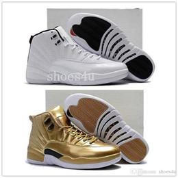Nuevas suelas de baloncesto online-De Calidad superior Barato Nuevos 12 Hombres Zapatillas de Baloncesto Zapatillas 12s Pinnacle Metálico Oro / Salida Del Sol para hombres 40-47 caja