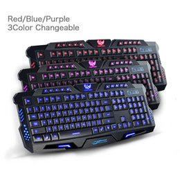 Wholesale Mechanical Pc Keyboard - English Wired Gaming backlight bursting mechanical keyboard 3 Colors USB Gaming Keyboards with Adjustable Brightness for desktop Computer PC