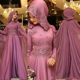 Wholesale Cape Lace High Collar - 2018 Muslim Dresses with Cape Vestidos Festa Long Sleeve Evening Dresses for Womean Jewel Neck Beaded Lace Appliques Prom Gown