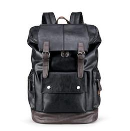 mochila moda marcas Desconto Sacos de marca dos homens por atacado moda grande capacidade de couro mochila retro cor casual homens mochila mochila de couro de viagem ao ar livre