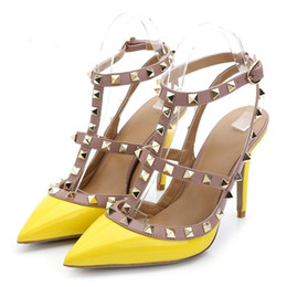 Wholesale sexy stud dress - 2017 luxury brand design Patent Leather Women Stud Sandals Slingback Pumps Two Ankle Buckles Ladies Sexy High Heels Neon Color Wedding Shoes