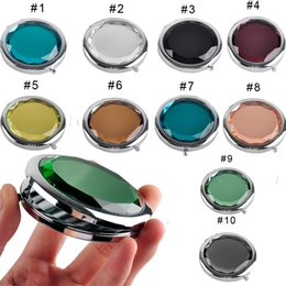 Wholesale crystal makeup mirror - Cosmetic Compact Mirror Crystal Magnifying Make Up Mirror Wedding Gift for Guests 6 Colors Makeup Tools 0605003