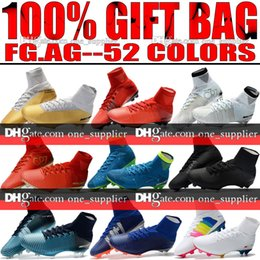 Wholesale White Color Boots - New 2018 Men Mercurial Superfly CR7 V FG AG Football Boots Cristiano Ronaldo High Tops Neymar JR ACC Soccer Shoes Magista Obra Soccer Cleats