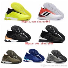 chaussures de football authentiques Promotion 2018 chaussures de soccer originales à crampons Predator Tango 18+ TR bottes de football hautes cheville pas cher pour hommes authentiques chaussures de football
