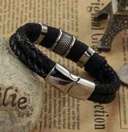 Wholesale Double Layer Ring - Handmade Genuine Leather Weaved Double Layer Man Bracelets Casual Sporty Bicycle Motorcycle Delicate Cool Men Jewelry,