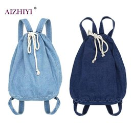 af374478b2a7 Casual Women Denim Backpacks Drawstring Teen Girls Shoulder School Handbags