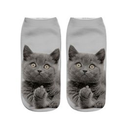 Wholesale Mens Funny Socks - Huation 2017 calcetines hombre Fashion Men Women 3D Happy Socks Harajuku Short Printed Funny Socks Mens Cotton No Show