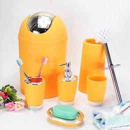 Wholesale Bathroom Bins - 6 Pcs Bathroom Accessory Bin Soap Dish Dispenser Tumbler Toothbrush Holder Set