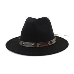 2248b7a34ee Vintage Classic Wide Brim Wool Felt Fedora Men Woman Panama Hat Leisure Jazz  Formal Hat Chapeau Trilby Leather Decorated