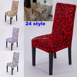 Wholesale Dining Rooms Chairs - NEW Elastic Force Chair Cover Slipcovers Dining Room Wedding Party Banquet Short Chair Covers Home Textiles Chair Covers 24 Design WX-C68