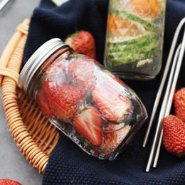 spray oliva all'ingrosso Sconti Glass Mason Jar Bottle For icecream Frutta Cold Drink Infusione di vetro Bottiglie di acqua Bocca regolare Wedding Birthday Party Favors