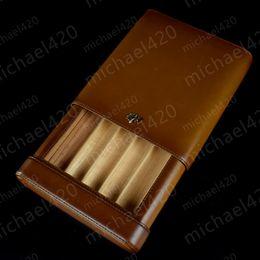 Wholesale Cedar Cigar Case - Coffee and black Color Leather COHIBA Wood lining Cedar Holder 5 Tube Easy to carry Travel Cigar Case Humidor