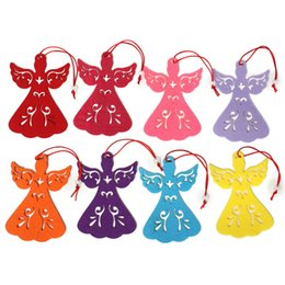 Wholesale Wholesale Angels Figurines - Wholesale Colourful Angel Tags Christmas Ornaments home & party decorations hanging Christmas tree decor decorations